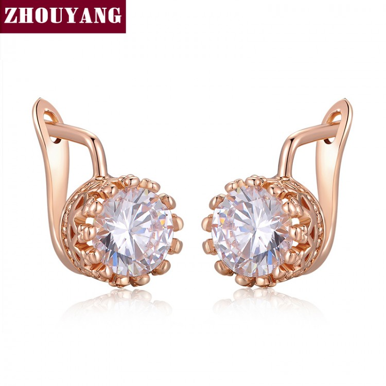 Top Quality Crown Earring Rose Gold Color Jewelry Made with
