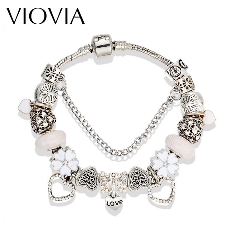 VIOVIA New White Glass Charm Bracelets & Bangles Silver Color ...